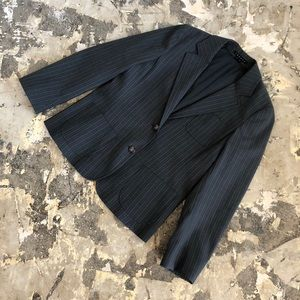 Theory Grey Pinstriped Wool Blazer